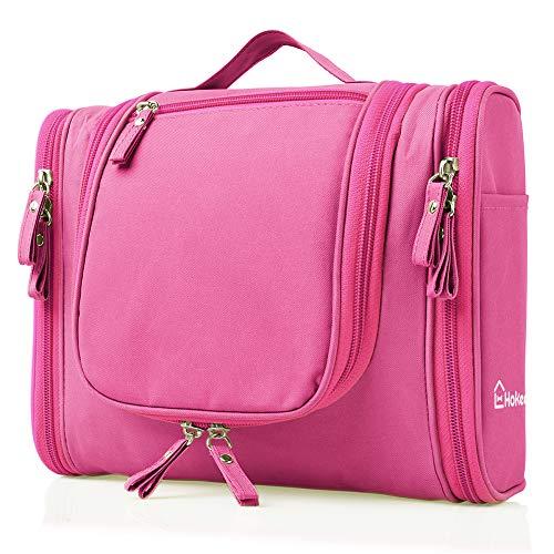 Waterproof Toiletry Bag for Women - Travel Cosmetic Bag Makeup Organizer Heavy Duty Shower Bag Hokeeper Hanging Dopp Kit - Large Size: 10.2 x 4.5 x 8.5 Inch (Pink)