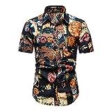 Camisa Casual Hombre Verano Cuello Kent Estampado Moda Hombre Camisa De Playa Bolsillos Transpirables Camisa Hombre Manga Corta Personalidad Tapeta Hombre Camisa Hawaiana N-Multicolor 14 L