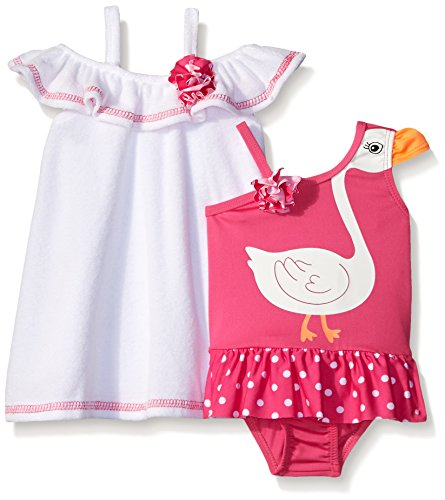 Baby Buns Baby Girls' Swan Princess Terry Cover Up Swim Set, Multi, 6-9 Months