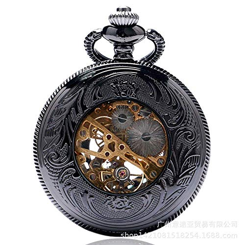 JoinBuy.R - Reloj de bolsillo con cadena vintage, color negro calado con el sol y el fuego, reloj de bolsillo mecánico, informal, vintage, romano, digital, para hombre, retro punk