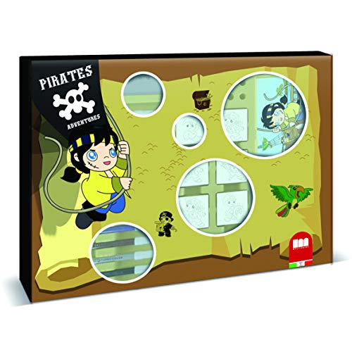 Multiprint Valigiotto Maxi 7 Timbri per Bambini Pirates Adventures, Made in Italy, Set Timbrini Bimbi Personalizzati, in Legno e Gomma Naturale, Inchiostro Lavabile Atossico, Idea Regalo, Art.04927