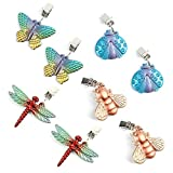 Bekith 8 Pack Vintage Tablecloth Weights on Clip Hangers, Pendant Tablecloth Weights kit with Colourful Butterfly Shape for Outdoor Garden Party Picnic Table Covers