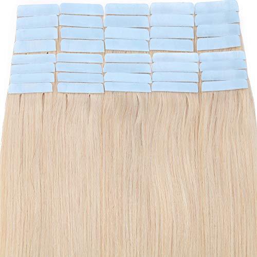 Extension Adhesive Naturel 40 Pcs Rajout Vrai Cheveux Humain Naturel Adhesif Bande Adhesive Remy Hair Tape in - #70 Blanc - 60CM