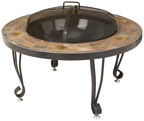 34-Inch Natural Stone Wood Burning Fire Pit with Copper Accents by AmazonBasics