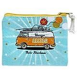 Die Geschenkewelt Happy Life 46428 Täschchen mit Bus-Design, Baumwolle, 22,5 x 17,5 cm, Hellblau...