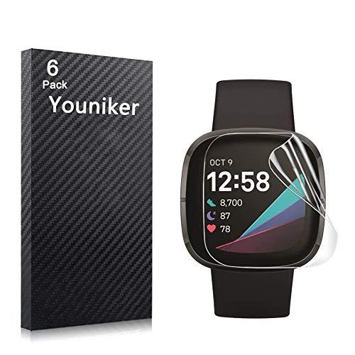 Youniker Protector de pantalla compatible con Fitbit Versa 3, protector de pantalla para Fitbit Sense, protector de pantalla transparente, HD, antiarañazos, antihuellas dactilares.