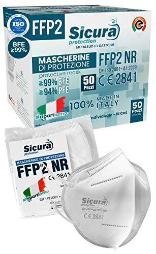Eurocali 50 Mascherine FFP2 Certificate CE Italia Adulti | BFE ≥99% | Mascherina ffp2 SANIFICATA e sigillata singolarmente 100% Made in Italy. Certificata ISO 13485 Dispositivo Medico