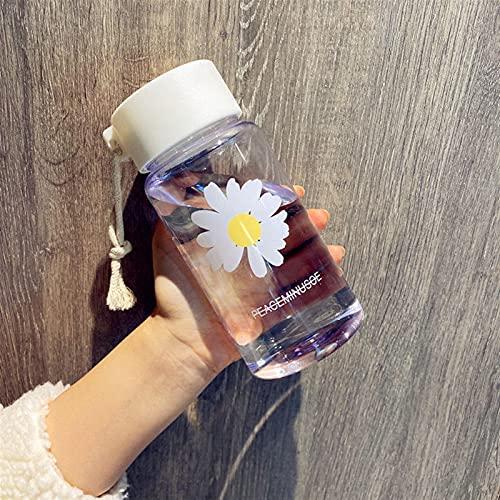 KANGDILE 500 ml pequeña Margarita Botellas de Agua plásticas Transparentes BPA Free Creative Frosted Water Botella con Taza de té de Viaje portátil (Capacity : 500ml, Color : Transparent 1 Flower)