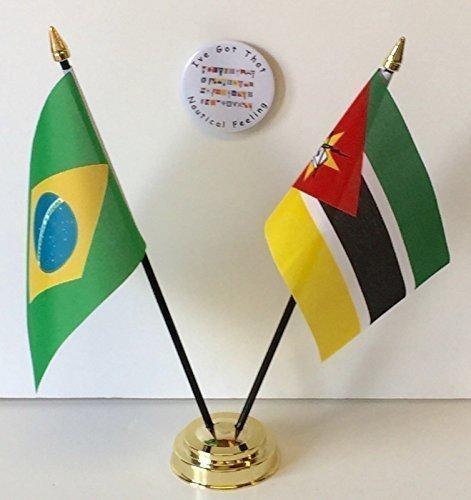 Brazilië Rio Olympische Spelen 2016 & Mozambique Vriendschap Vlaggen & Badge Set