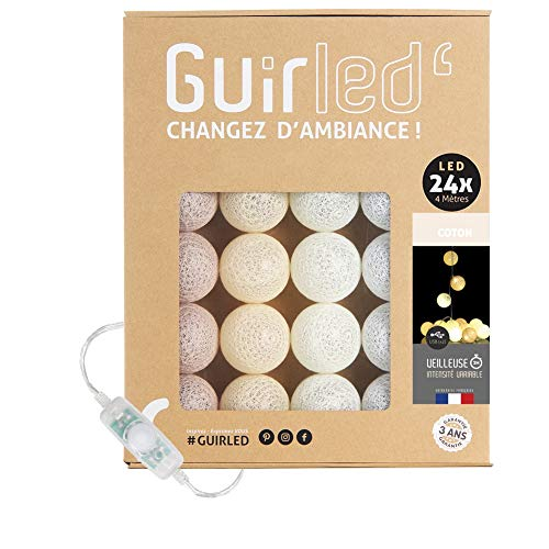 Guirnalda luminosa bolas de algodón LED USB- Luz de noche para bebé 2h - Adaptador de corriente dual USB 2A incluido - 3 intensidades - 24 bolas 4m - Coton