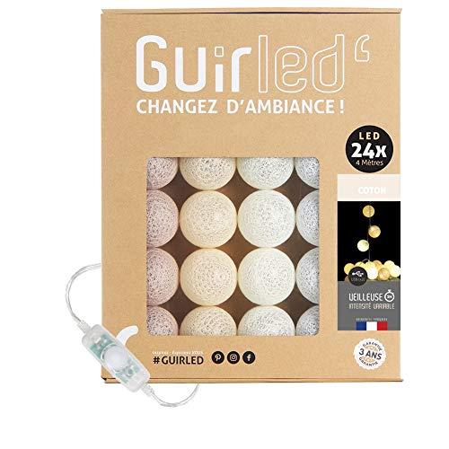 Ghirlanda luminoso a LED per batuffoli di cotone USB - Luce notturna per bambini 2h - Alimentatore doppio USB 2A incluso - 3 intensità - 24 sfere 4 m - Cotone