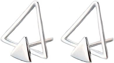 Helen de Lete Original Minimalist Double Triangle Sterling Silver Stud Earrings