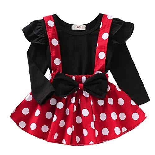 FYMNSI Recién Nacido Infantil Bebé Niña Disfraz de Minnie Mouse Camisa de Algodón Manga Larga Lunares Falda de Tirantes 2pcs Set para Fiesta Cumpleaños Carnaval Navidad Halloween Negro 02 12-18 Meses