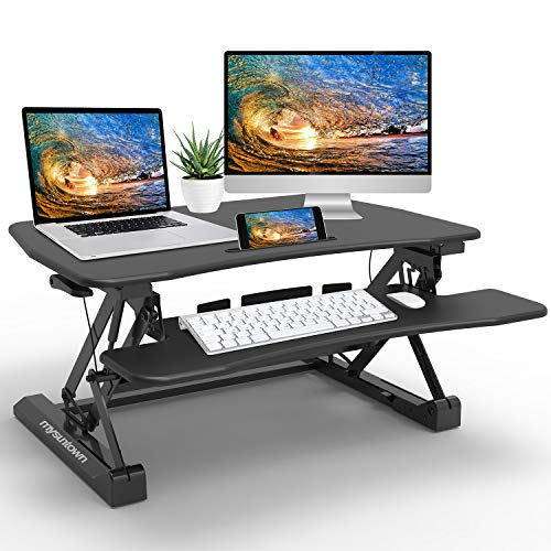 mysuntown Standing Desk Converter Adjustable Height - 47 inch sit to Stand Desktop Riser Computer Workstation with Wide Keyboard Tray Metal Base