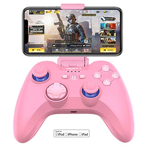 PXN 6603 MFi Certified Wireless Game Controller, Gaming Controller Joypad with Adjustable Clamp Holder Compatible Compatible with iOS iPhone iPad iPod Apple TV(Pink iSO Gaming Controller)