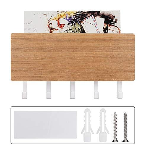 FT-SHOP Organizador de Correo de Madera con Colgador de 5 Llaves Colgador de Llaves con Estante para Hogar Recibidor Dormitorio Cuarto de Estar