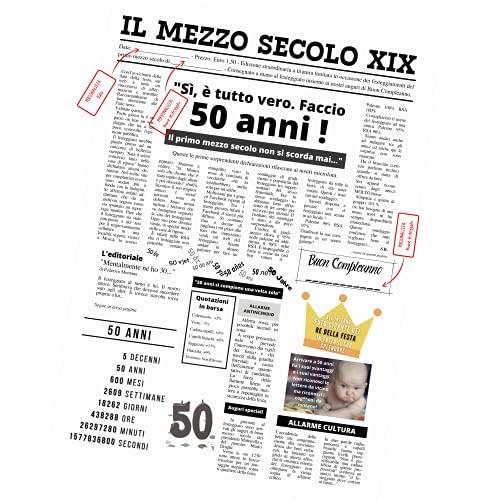 Giornale Auguri 50 Anni Compleanno Biglietto Originale e Simpatico Maxi Formato Regalo Esplosivo Divertente Unico (50A-uomo)