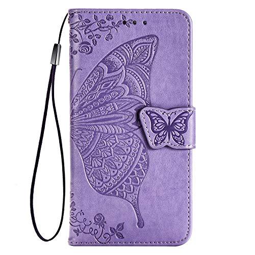 TANYO Hülle für Xiaomi Mi Note 10 Lite, Schutzhülle PU/TPU Flip Leder Brieftasche Handytasche mit Kartenfächer, Klapp Handyhülle 3D Schmetterling Helles Lila