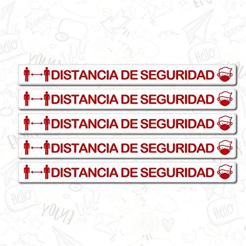 CUAC REVOLUTION Kit 5 Pegatinas Vinilo Suelo Antideslizante Distancia Seguridad (1000x88mm) Rojo Y Blanco Regalo DE UNA MASCARILLA HIGIENICA por Cada Compra