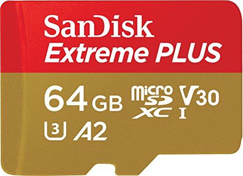 SanDisk Extreme Plus Scheda di Memoria microSDXC da 64 GB e Adattatore SD con App Performance A2 e Rescue Pro Deluxe, fino a 170 MB/sec, Classe 10, UHS-I, U3, V30