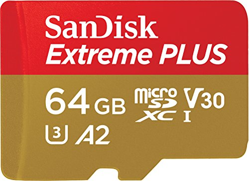 SanDisk Extreme Plus 64GB microSDXC Class 10 Speicherkarte mit SD-Adapter, Gold/Rot