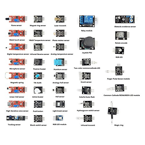 Sainsmart - Modulo sensore 37 in 1 per Arduino UNO R3 Mega2560 Mega328 Nano Raspberry Pi 3 / Pi 2 Robotic Robotics (senza scatola di plastica)