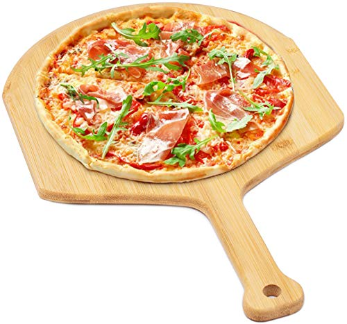 """Pizza Peel Bamboo Pizza Spatula Paddle for Pizza Stone Perfect for Transferring Pizza, Bread, Cake, BBQ, Vegetables (17.7"""" L x 11.6"""" W)"""