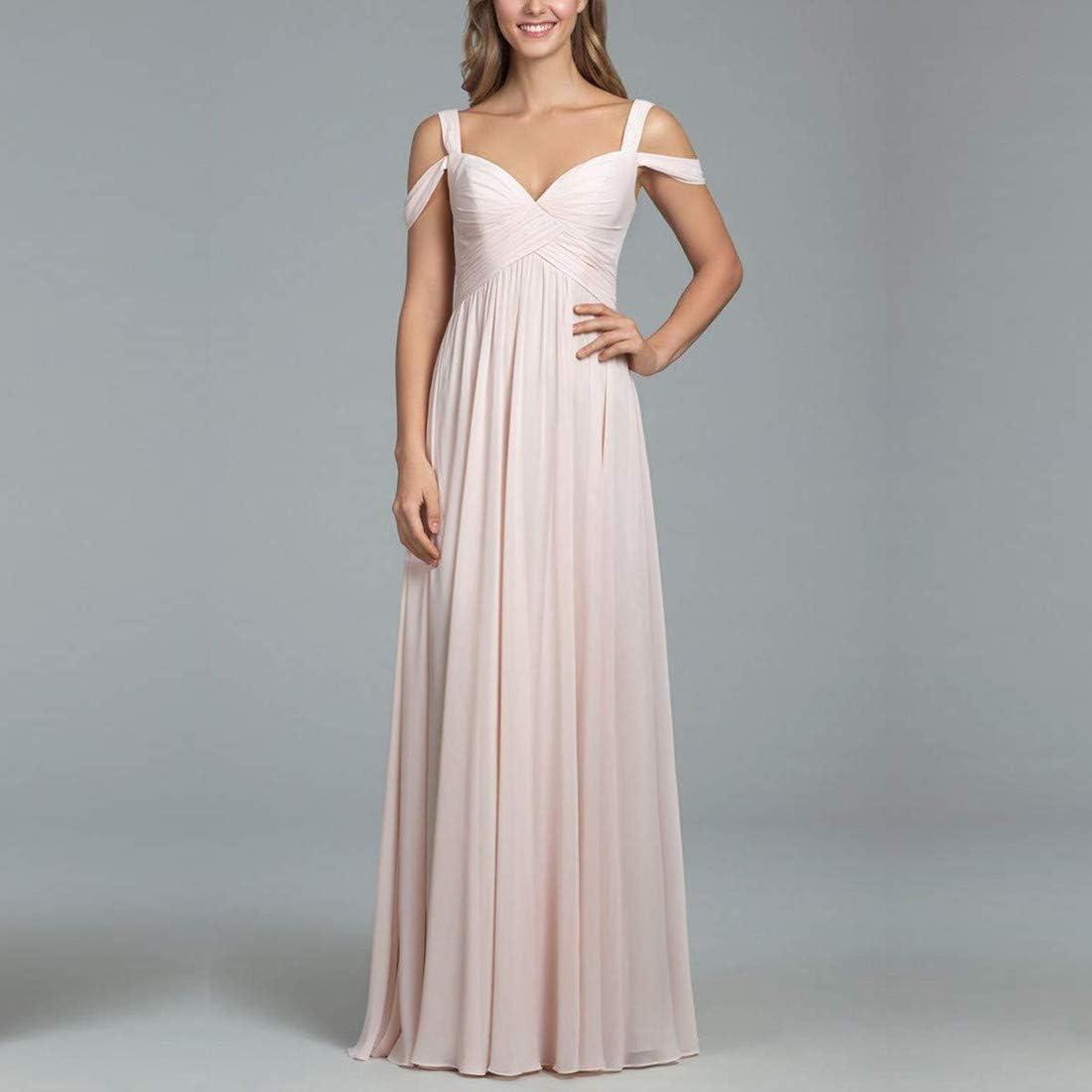 Women's Off Shoulder Chiffon Long Bridesmaid Dress Formal Evening Party Prom Gowns Chiffon Wedding Guest Dress