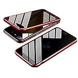 Jonwelsy Anti-Spy Funda para iPhone 8 Plus (5,5 Pulgada), 360 Grados Proteccion Case, Privacidad Vidrio Templado Anti espía Cover, Adsorción Magnética Metal Bumper Cubierta para iPhone 7 Plus (Rojo)