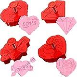 Juego de Cortadores de Galletas de San Valentín de 4 Piezas, Sello de Pastelería de Fondant Estampador de Diamante Rosa Corazón Flecha de Cupido, Gofrado Directo, Cortador de Mango con Resorte