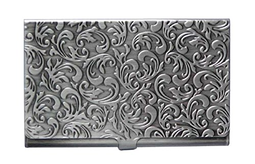 Metal Damask Embossed Business Card Case (Antique Silver Tone)