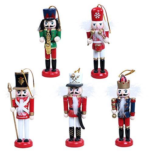 Bcela - Juego de 5 adornos de cascanueces de Navidad para colgar decoraciones para árbol de Navidad figuras de marionetas de juguete regalos
