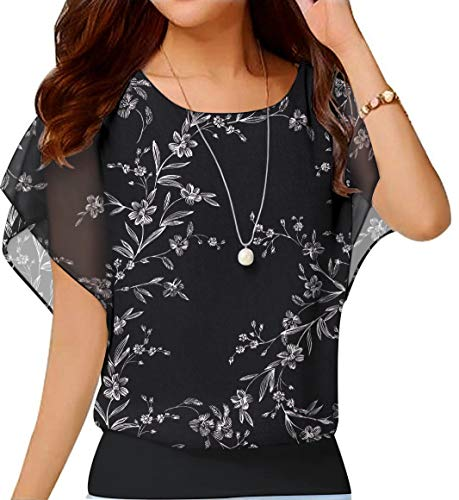 Neineiwu Womens Short Sleeve Chiffon Tops Casual Batwing Sleeve Blouses and Tops (White Leaves-Black XL)