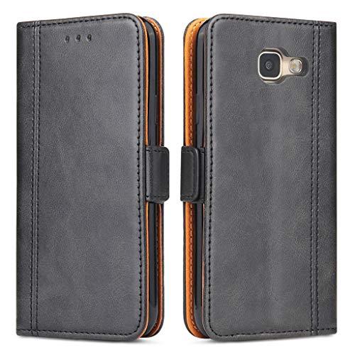 Bozon Galaxy A3 2016 Hülle, Leder Tasche Handyhülle für Samsung Galaxy A3 (2016) Schutzhülle Flip Wallet mit Ständer und Kartenfächer/Magnetverschluss (Schwarz)