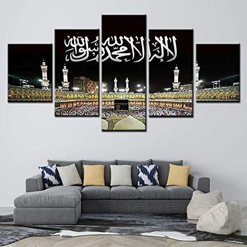 FFFZDCKAY Cuadro en Lienzo 5 Partes Lienzo Abstracto islámico Alá el Corán Cuadros Modernos Arte de la Pared para Sala de Estar decoración del hogar Sin Marco