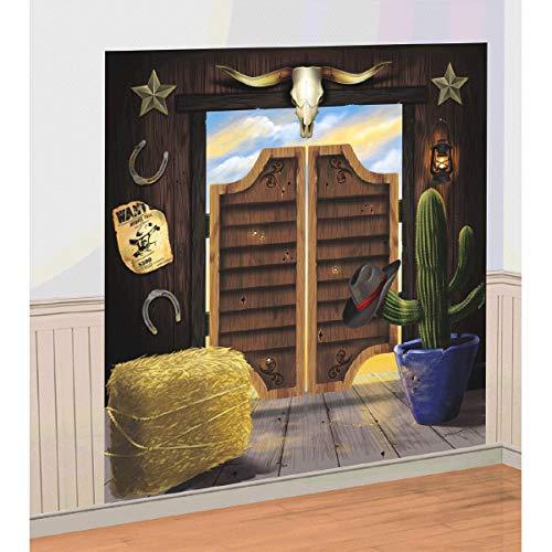 amscan Western - Lámina Decorativa para Pared (1,65 x 82,5 cm), diseño de Puerta de Taberna del lejano Oeste