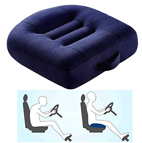 Adult Car Booster Cushion, Car Passenger Seat Booster, Portable Breathable Mesh Car Seat Cushions for Car, Office, Home, Height Boost 12Cm/9Cm,Blue,40x40x9cm