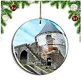 Weekino Montreuil-Sur-Mer Francia The Citadel Decoración de Navidad Árbol de Navidad Adorno Colgante Ciudad Viaje Colección de Recuerdos Porcelana 2.85 Pulgadas
