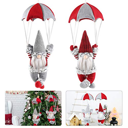 2 Pack Christmas Swedish Tomte Parachute- 18' Xmas Parachute with Plush Gnomes Hangable Xmas Faceless Doll Nordic Figurine Toy for Christmas Tree Fireplace Decor Xmas Gifts Party Favors (Red& Gray)