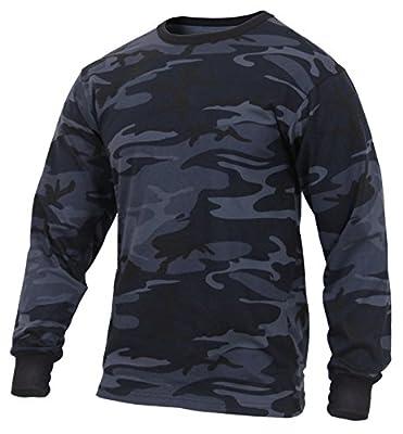 Rothco Long Sleeve Colored Camo T-Shirt, Midnight Blue Camo, XL