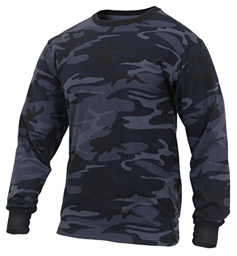 Rothco Long Sleeve Camo T-Shirt, Midnight Blue Camo, S