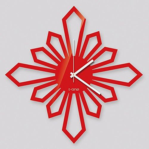 Horloge murale muet salon moderne/horloge personnalisée/chambre horloge créative (Couleur : Rouge, taille : D)