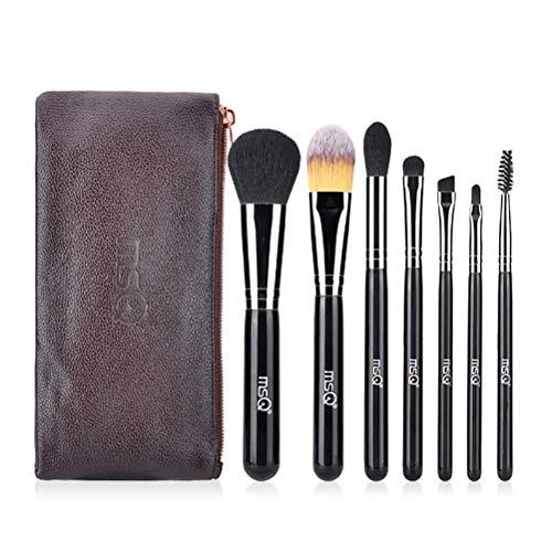 Maquillage Set Brush 7 Pcs Débutant Outils De Maquillage Fiber Foundation Ombre À Paupières Brosse À Lèvres Pu Sac