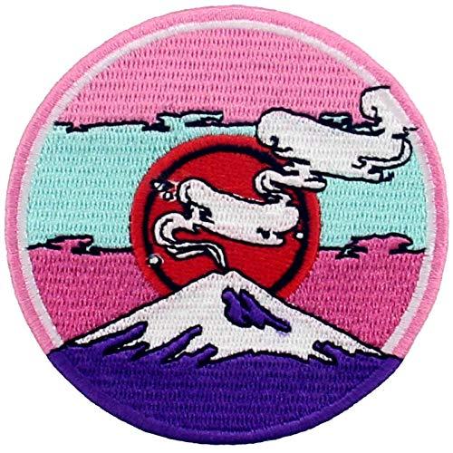Parche termoadhesivo para la ropa, diseño de Montaña Fuji bajo el sol rojo