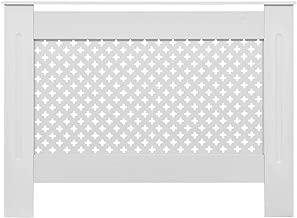 Festnight Cache-radiateur Grille à Barre Vertical Blanc MDF 172 cm
