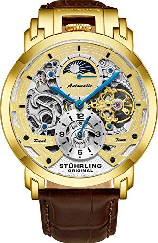 Stuhrling Orignal - Reloj automático para hombre, reloj esqueleto para hombre, reloj de cuero de lujo, reloj mecánico de acero inoxidable, reloj analógico con cuerda automática para hombre