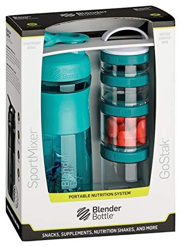 BlenderBottle Combo Pak - Sportmixer Shaker 820 ml Fassungsvermögen und GoStak Starter 4Pak mit Henkel in einer attraktiver Geschenkverpackung, teal