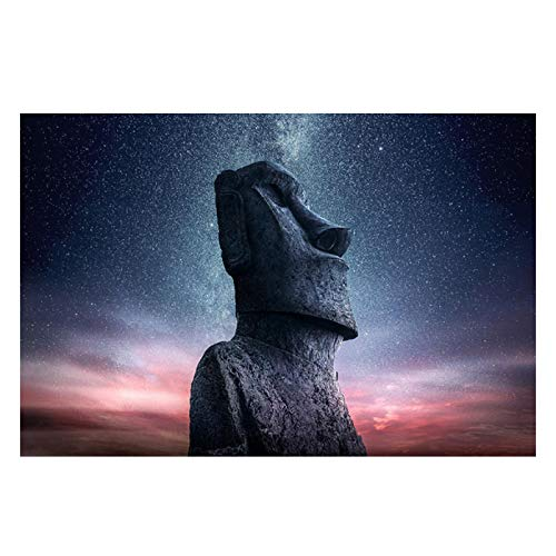 ZFLSGWZ Carteles E Impresiones De Imágenes De Estatua De Piedra De La Isla De Pascua Decoración Lienzo Pintura Cuadros De Pared para El Diseño del Hogar-60X90Cm Sin Marco