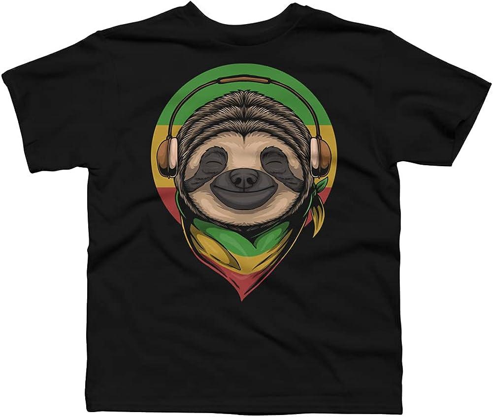 Design By Humans Sloth Rasta a Wearing Headphones Boys Graphic Tee