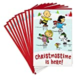 Hallmark Pack of Peanuts Christmas Cards, Ice Skating (10 Cards with Envelopes)